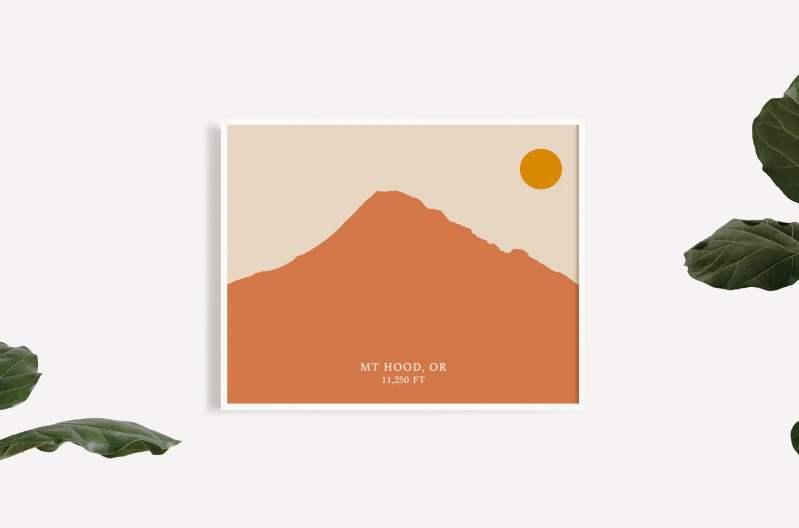 Mt. Hood Oregon Abstract Print // Mountain Art | Oregon Art | Portland | PNW Art | Beach Art Decor | Abstract Minimalist Art
