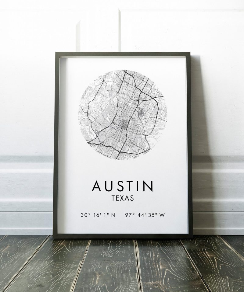 Austin Map, Austin City Map, Austin Map, Austin Print, Austin Poster, Map of Austin , Austin Texas GPS Art Print, City Map of Austin