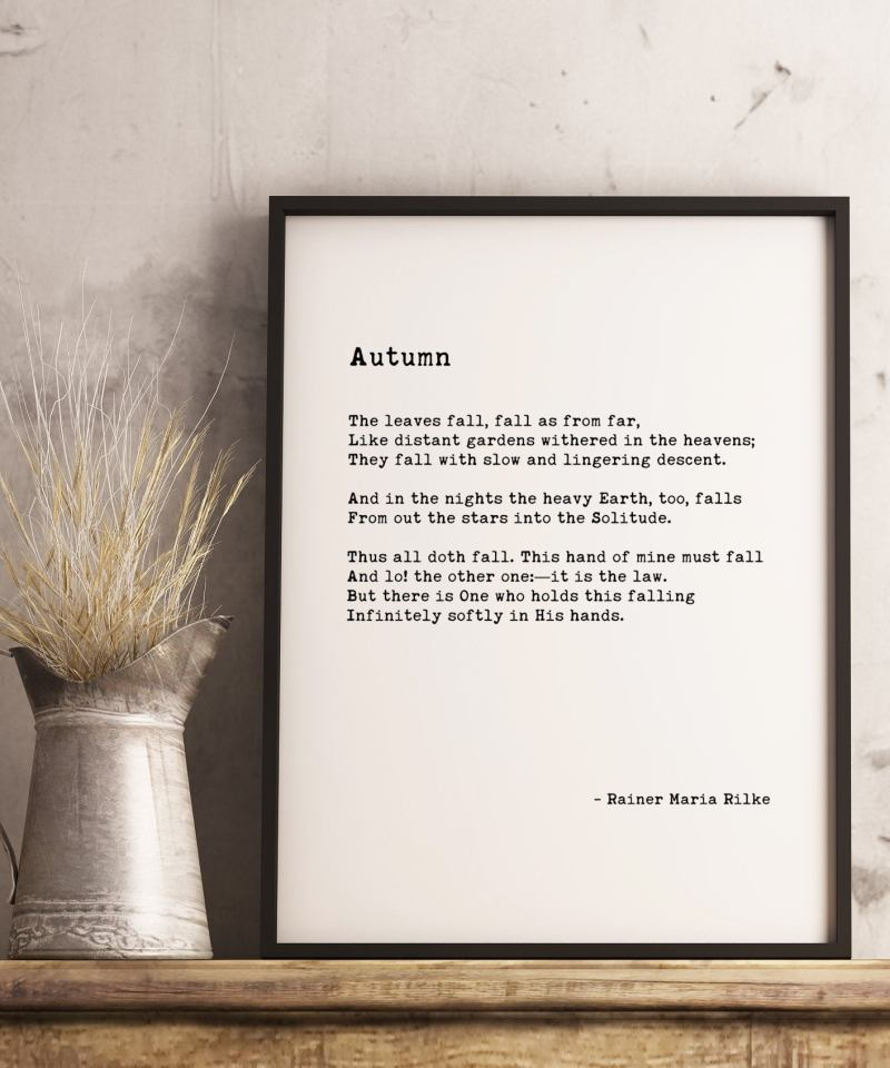 Autumn ― Rainer Maria Rilke Typography Print // Poetry Prints | Fall Poems | Fall Quotes | Poem Art