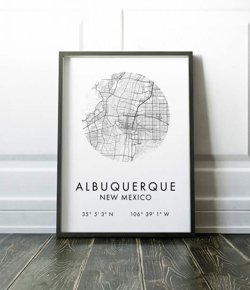 Albuquerque Map, Albuquerque City Map, Albuquerque Map, Albuquerque Print, Map of Albuquerque, Albuquerque GPS Art Print, City Map