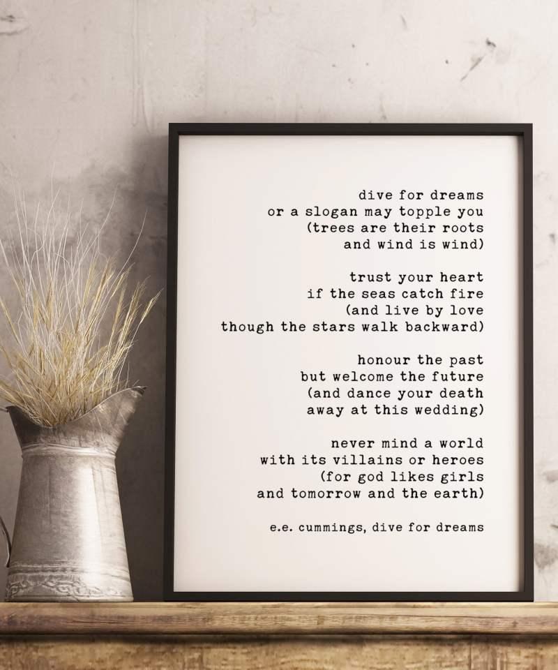 dive for dreams - E.E. Cummings // Typography Print, Inspirational Poetry, Motivational Poem, e.e. cummings poems, ee cummings poetry