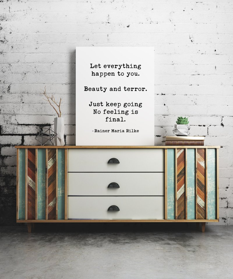 Let Everything Happen to You by Rainer Maria Rilke Canvas Typography Art Print // Inspirational | Home Wall Decor | Minimalist Decor