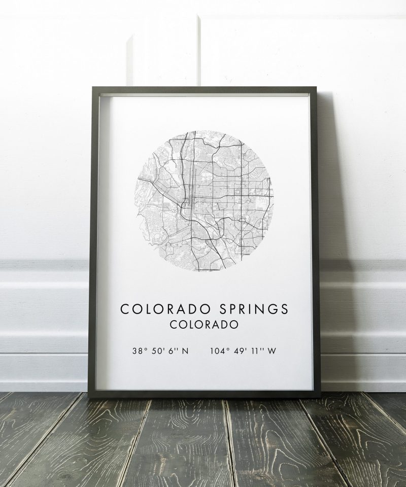 Colorado Springs Co Map, Colorado Springs City Map, Colorado Springs Map, Colorado Springs Print, GPS Art Print,  Colorado Springs Art