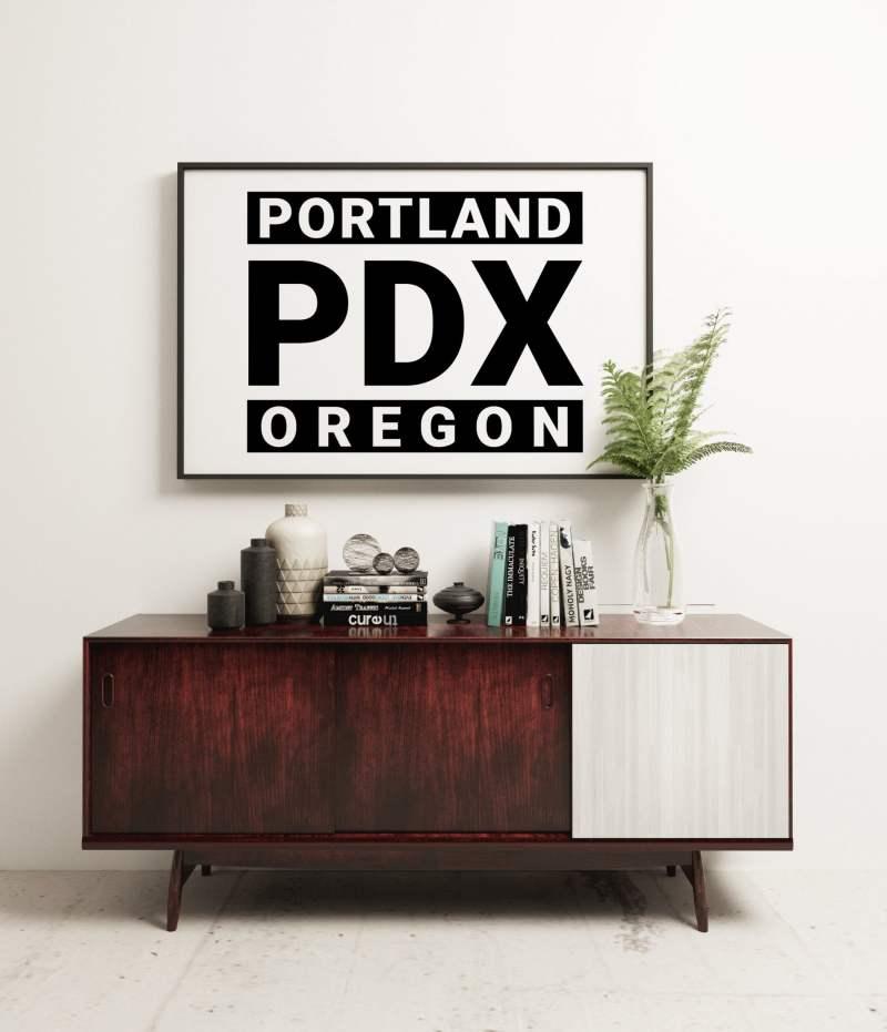Portland PDX Oregon Minimalist Art Print - PDX - Portland - Oregon - Minimalist Wall Decor - Office Decor - Living Room Decor - Dorm Decor