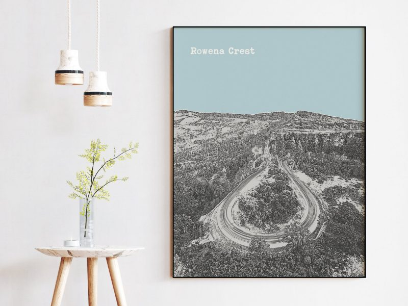 Rowena Crest at Columba River Gorge - Oregon Skyline Vintage Design Minimalist Art Print – Rowena Crest Art Print - Oregon Art Print