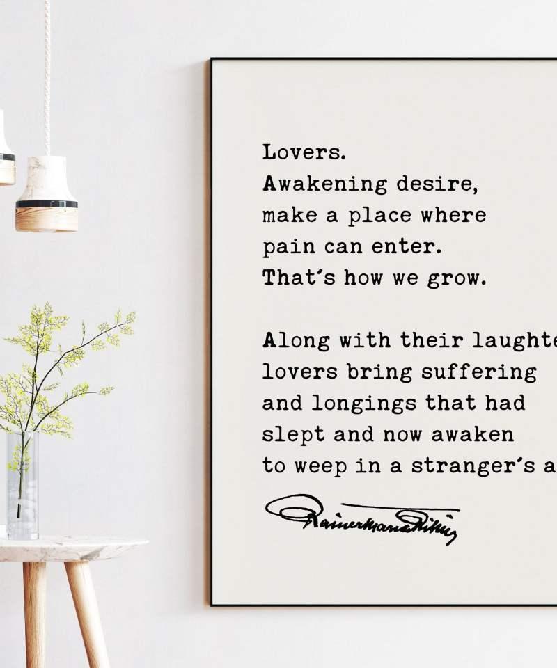Rainer Maria Rilke Quote - Lovers Awakening Desire Art Print | Love Quotes Art | Wedding Gifts