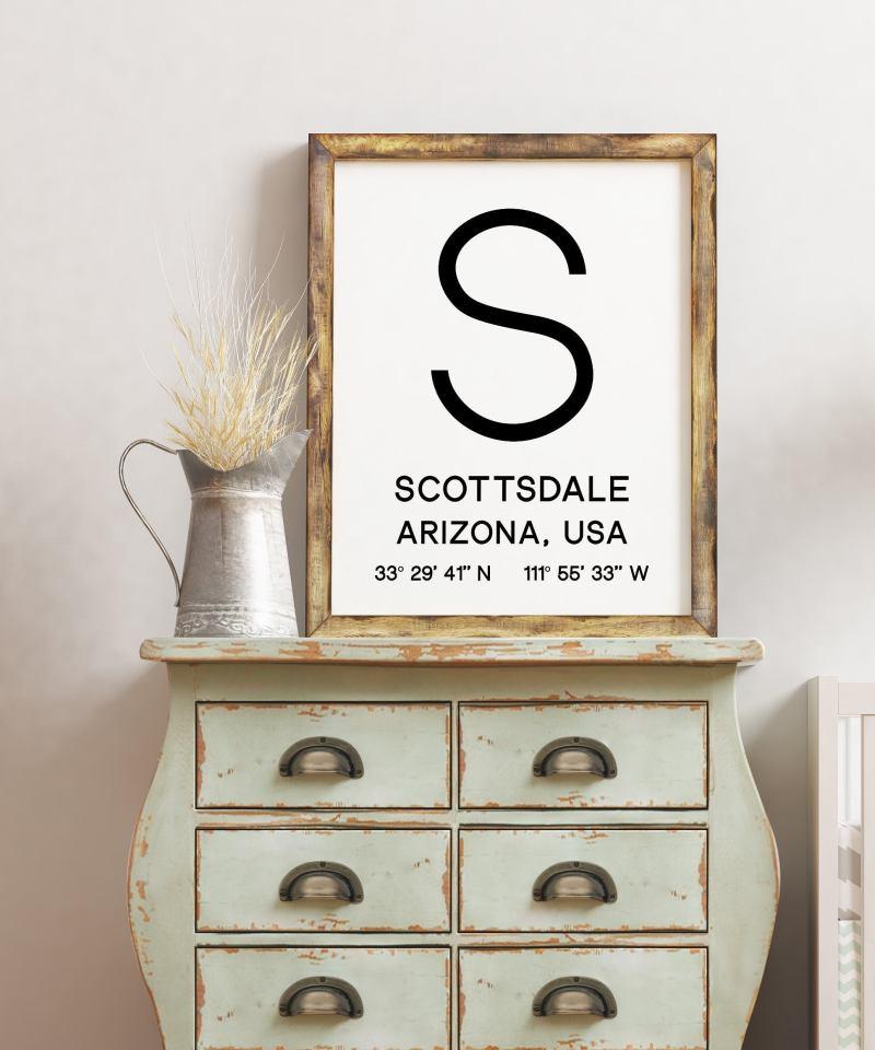 Scottsdale Arizona with GPS Coordinates Minimalist Art Print | Wall Decor | Office Decor | Living Room Decor | Dorm Decor