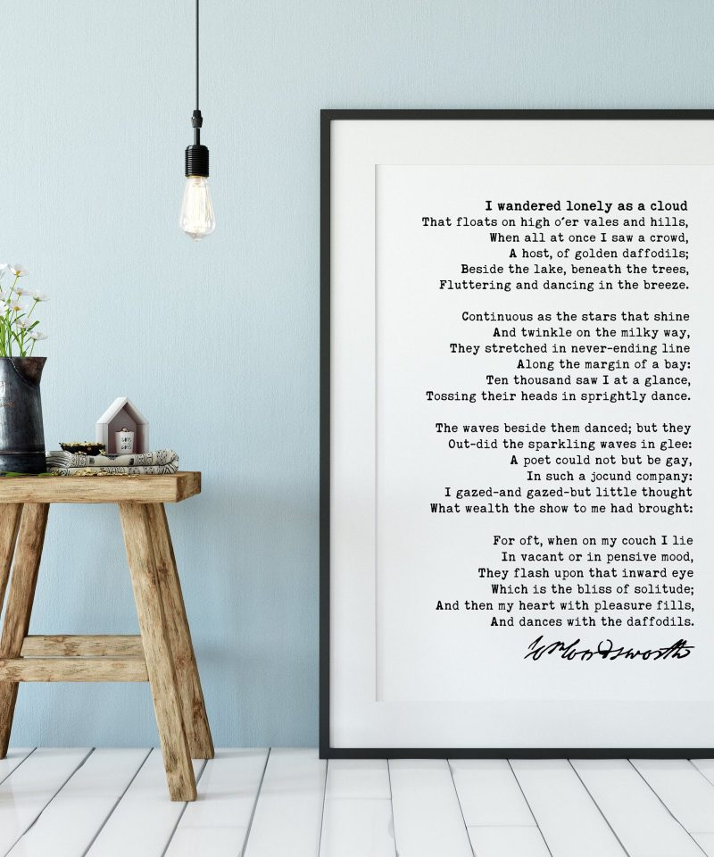 William Wordsworth Daffodils Poem - I Wandered Lonely as a Cloud Art Print | Inspirational Poem | Poetry Wall Art Print