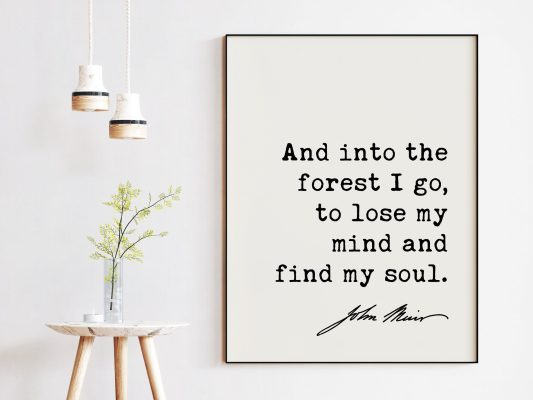 And into the forest I go, to lose my mind and find my soul. John Muir Quote Printable Wall Art // Downloadable Typography Print