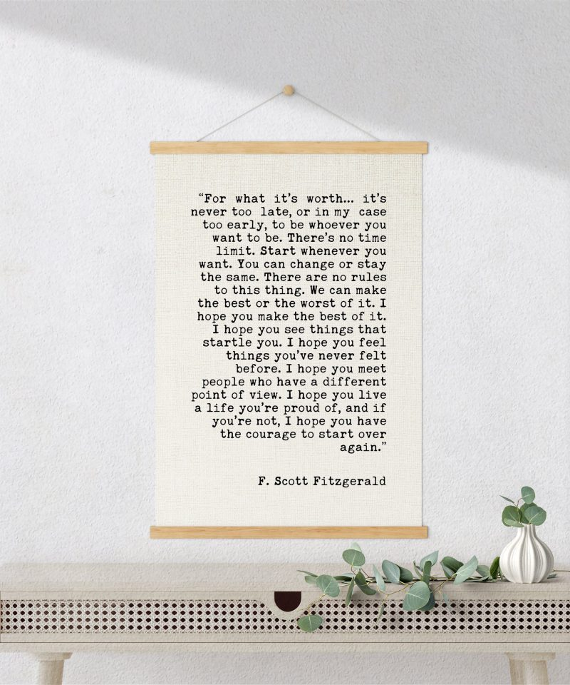 F. Scott Fitzgerald For What It's Worth Quote Canvas Art Print with Teak Wood Wall Hanger   Graduation Gift   New Job   Break-Up   Moving