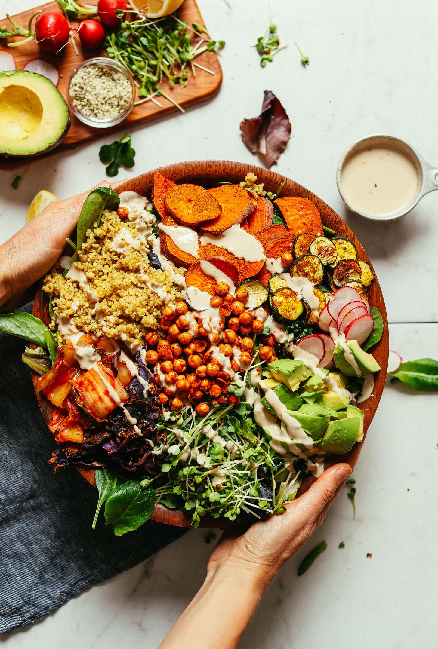 Abundance Kale Salad with Savory Tahini Dressing