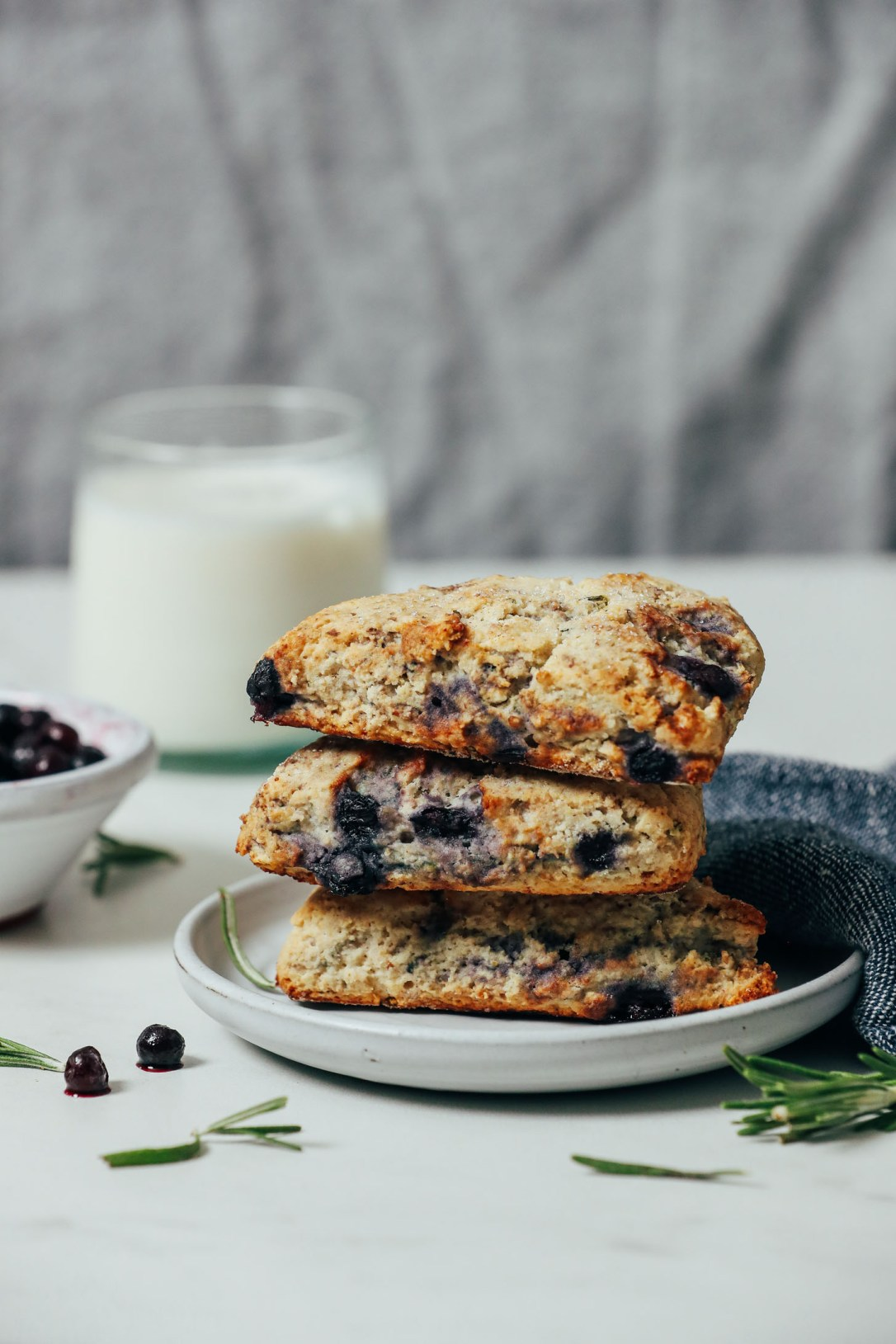 Plate with a stack of Blueberry Gluten Free Scones