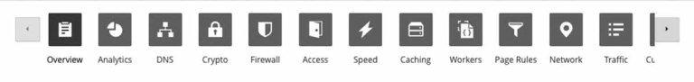 barra delle opzioni di cloudflare