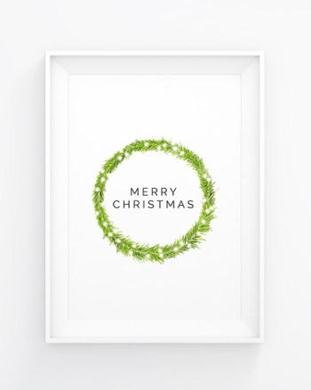 Free printable: minimalist Christmas wreath from minimalistmuss.com