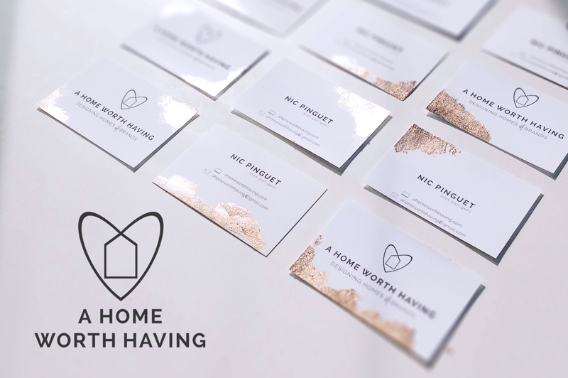 A Home Worth Having - Branding incorporating the business' values minimalism, individuality and the sense of worth. Made by Nic Pinguet from ahomeworthhaving.com