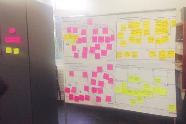 Startup Weekend Arbeitsposter. Fotografiert udn im Hotel nochmal analysiert - minimalistmuss.com