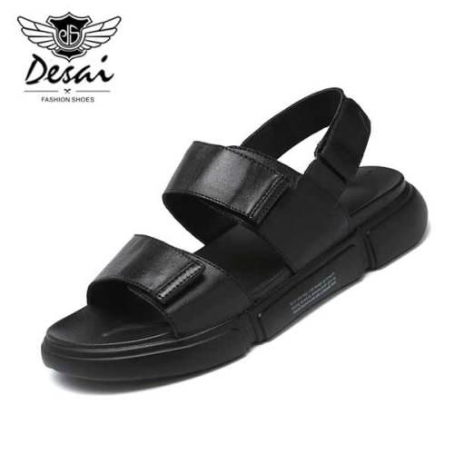 Black Genuine Leather Sandals