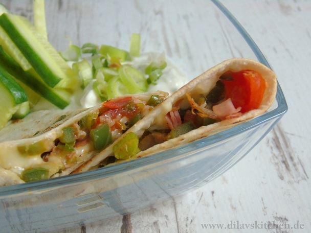 Schnelle Gemüse-Quesadillas mit Kräuter-Quark