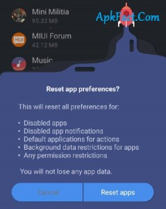 Resetting the app preferences with set default settings