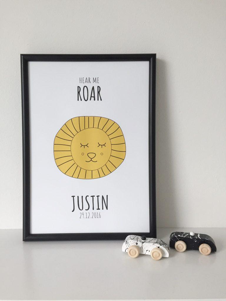 gepersonaliseerde kinderkamer poster geboorteposter leeuw