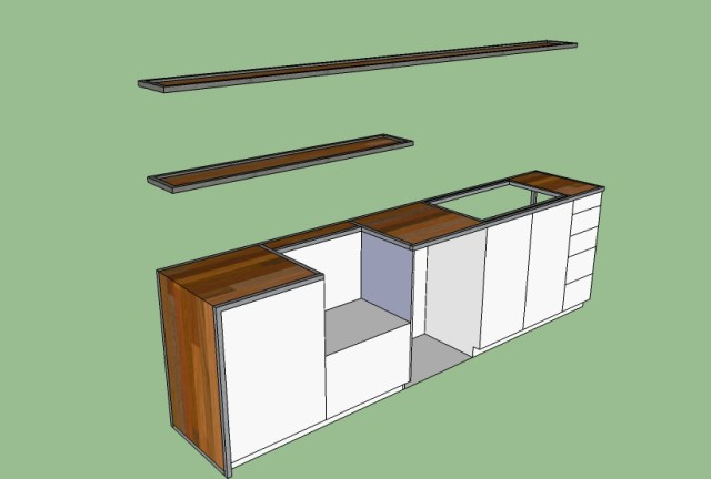 As mentioned, here are my kitchen ideas.  I am planning on using the birch hardwood floor that Stacy found on Craigslist (if that is ok Stacey??) for the counter and wrap-down portion.  There is a steel frame that Nate is going to help me with, the white part is all built in wood pieces.  I think I have changed my mind a little since drawing this but the basic concept is still the same.