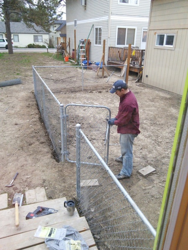 And also, James is ALMOST done with his fence, just one more little section!  Th grass seed is planted and there has been a little rain to help things along, hopefully there will be some green in there soon!