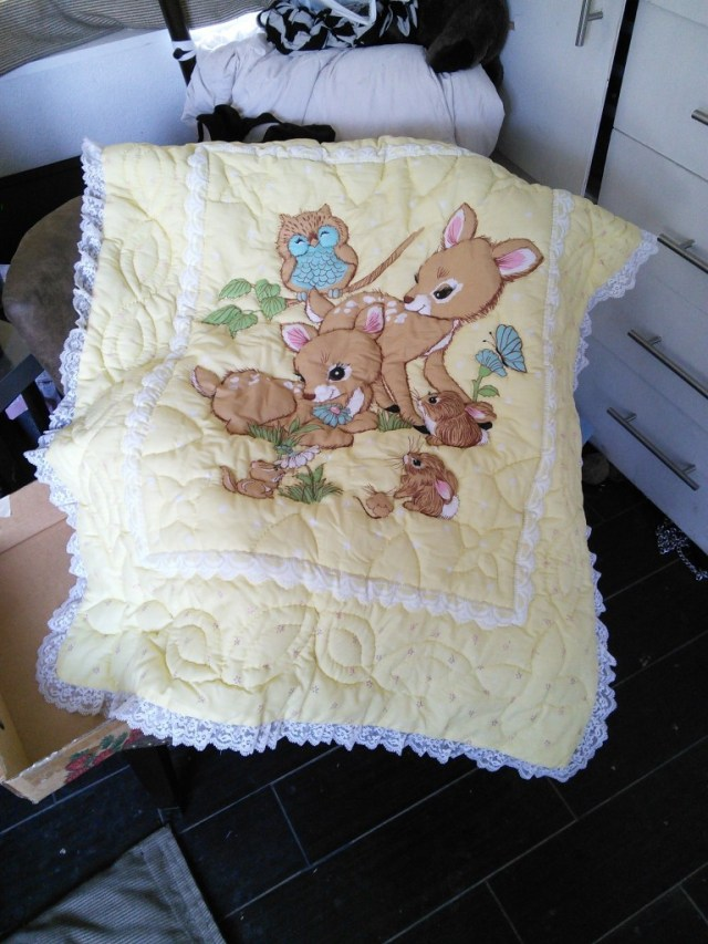 Please, who gave us this adorable quilt?  It was on my doorstep with a nice note when we got back from the hospital, it is so soft and so sweet, we love it!