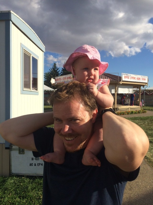 AND she got to ride on dads shoulders for the first time, she grabbed on TIGHT!  and loved it!