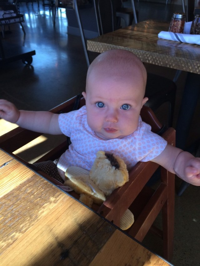 AND she sat in a high chair for the first time, we had a fun meeting for an upcoming project and decidded to get some lunch after, she LOVED getting her own seat, I have to put my purse behind her so she can sit up but she seemed to think it was pretty awesome!