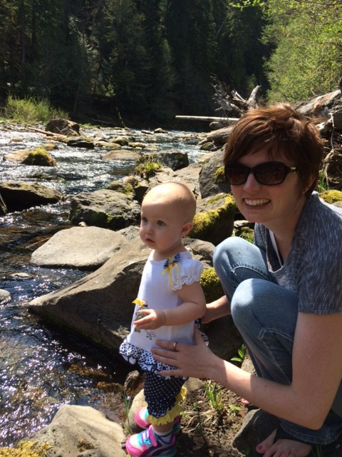 A pit stop at the river, she couldn't stop lauging at the moss on the rocks, I was wondering what the heck she was thinking!