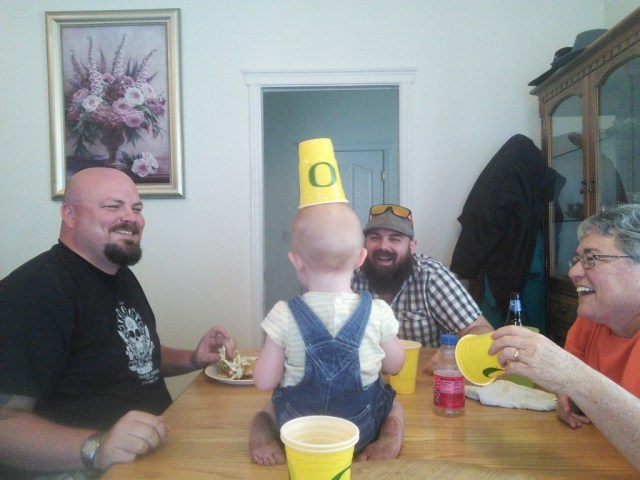 Hazel is the life of theparty with her granny adn uncles.  :)