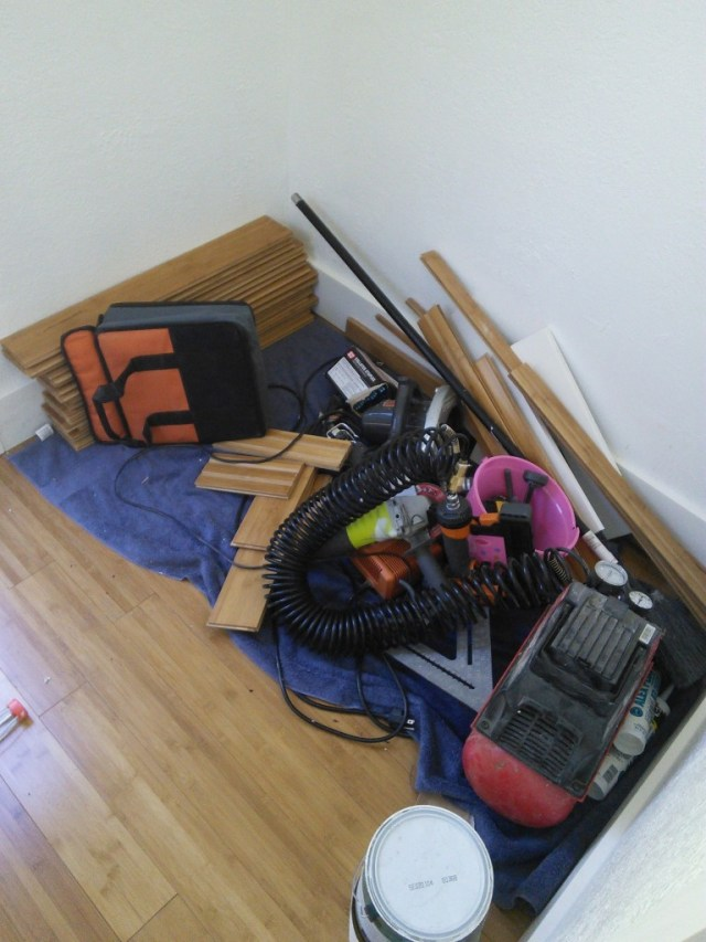 The tools are all stacked where Hazel's bed will be