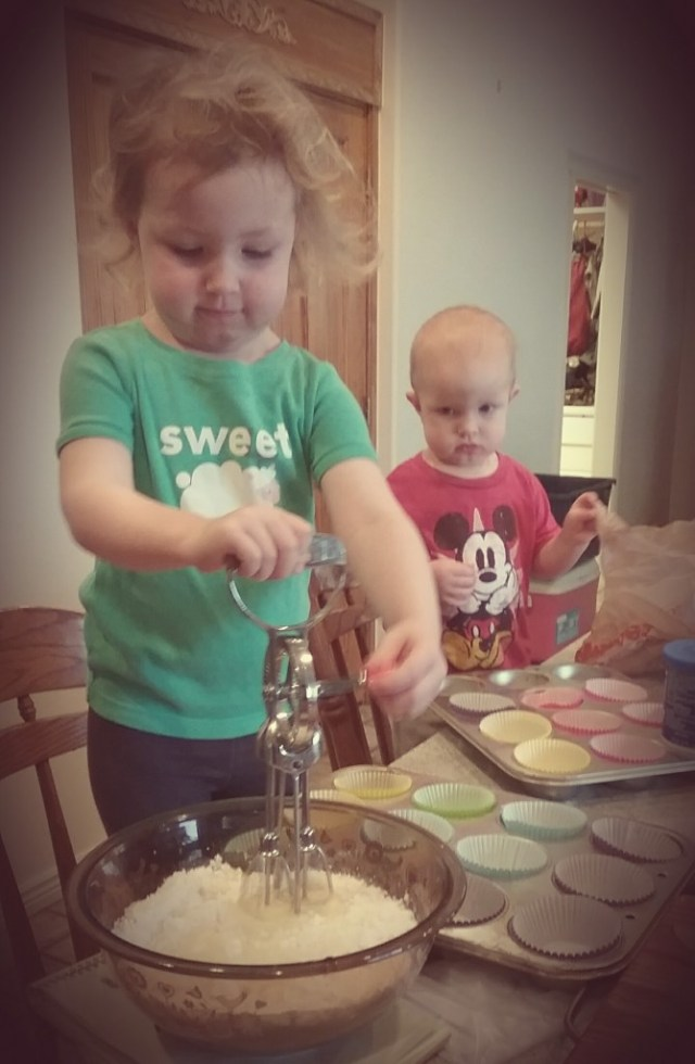 Making her own cakes!