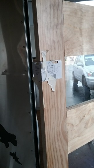 Marking the hole for the door knob
