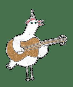 Huhn mit Gitarre