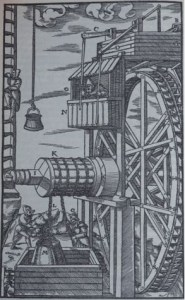 A water wheel depicted in Agricola's 1556 account on the state of the mining industry - De Re Metallica