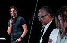 Kaká, durante palestra na Igreja Batista da Lagoinha, e Galvão Bueno, seu convidado. (Foto: Reprodução/ Lagoinha Orlando Church)