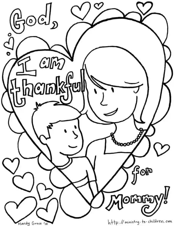 Mother and Son - Mother's Day Coloring Page