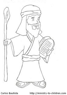 """Moses and the 10 Commandments"" Coloring Page (Exodus 34:29)"