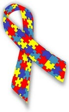 """A """"puzzle"""" ribbon to promote Autism and Aspergers Awareness."""