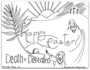 Easter Coloring Page - Happy Easter Death is Defeated