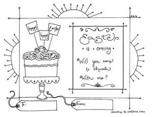 Invitation to Church for Easter - Printable Coloring Page for Kids