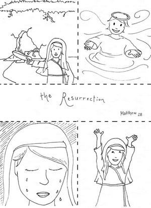 Story of Easter Coloring Page - Mary finds the empty tomb