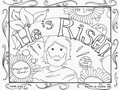 easter coloring picture with the phrase he is risen