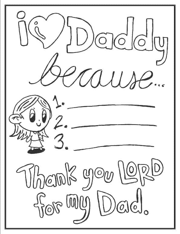 I love daddy because (girl - daughter version) activity coloring page