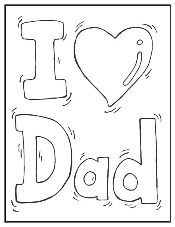 I heart Dad coloring page for father's day