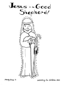 Coloring Page Of Jesus As The Good Shepherd Stock Photo Picture ... | 293x220