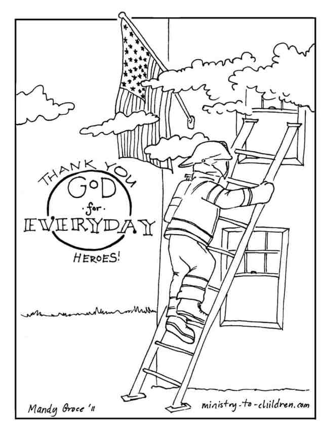 Firefighter Coloring Page (Thank God for Everyday Heroes)