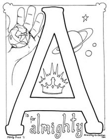 """""""A is for Almighty"""" Coloring Page — Ministry-To-Children.com"""