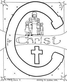 C is for Christ Bible Alphabet coloring page